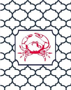 Perfect crab, beach, nautical pattern for a flower pot Crab Art, Cartoon Fish, Cancerian, Coastal Style, Thank You Cards, Artsy, Crafty, Artwork, Prints