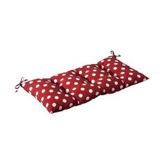 Pillow Perfect Red Polka Dot Seat Pad For Loveseat