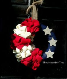 Patriotic Wreath 4th of July Wreath  Burlap Bubble Wreath USA Wreath American Flag wreath by TheSeptemberTree,