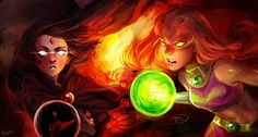 Teen Titans Raven and Starfire Teen Titans Starfire, Teen Titans Go, Starfire Dc, Starfire And Raven, Teen Titans Fanart, Starfire Comics, Beast Boy, Young Justice, Enfants Fairy Tail