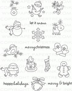 Treats: Christmas Stamp Set: Papertrey Ink Clear Stamps Dies Paper In. -Tremendous Treats: Christmas Stamp Set: Papertrey Ink Clear Stamps Dies Paper In. Christmas Doodles, Christmas Art, Christmas Patterns, Easy Christmas Drawings, Christmas Templates, Christmas Images, Winter Christmas, Christmas Embroidery, Doodle Drawings