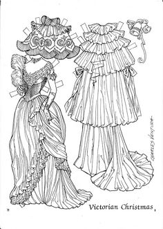 A Victorian Christmas Paper Doll of by Charles Ventura Colouring Pages, Adult Coloring Pages, Coloring Books, Victorian Paper Dolls, Vintage Paper Dolls, Paper Toys, Paper Crafts, Paper Dolls Clothing, Doll Clothes