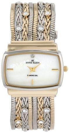 Anne Klein Women's 109271MPTT Swarovski Crystal Accented Two-Tone Multi-Chain Bracelet Watch : Disclosure: Affiliate link