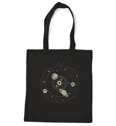 Solar System tote bag cotton fabric glow in the by alittlelark, $19.50