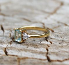 Vintage Emerald Cut Blue Topaz Ring with by Gener8tionsCre8tions, $45.00