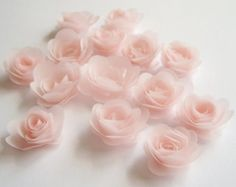 14 Pink blush rolled vellum paper flowers, wedding decoration, scrapbook decoration, table decoration, rosette, small flowers