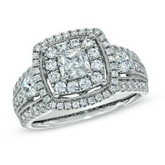 1-3/4+CT.+T.W.+Princess-Cut+Diamond+Double+Frame+Engagement+Ring+in+14K+White+Gold