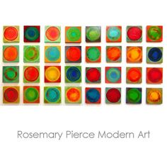 Original Abstract Painted Wood Wall Sculpture by Rosemary Pierce  geometric abstract circles painted on wood panels wall sculpture original wall art A large display excellent for giving your home or office walls a real boost!  Dancing Circles is an original artwork of 32 colorful modern abstract wood blocks. A beautiful and very modern large 32 piece wall sculpture.  DETAILS:  -32 wood blocks, each block approx 7.5 x 7.5 or 9.5 x 9.5 from choices above (or any other custom size and amount…