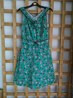 Henry Holland Dress Green with Cherry Print Spring Summer Size 12 (280) #HbyHenryHolland #ALine #CasualTravel