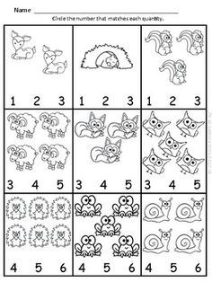 Animal Themed Numbers & Quantities Worksheets - Print and go! Kindergarten Math Activities, Preschool Writing, Numbers Preschool, Preschool Worksheets, Teaching Math, Preschool Activities, Lkg Worksheets, School Labels, Kits For Kids