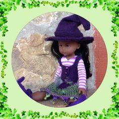 Knitting pattern pdf file for 13 inch doll Witch Halloween Costume vest,hat,skirt,shirt,shoes for Les cheries, Hearts for Heart, Paola Reina by DarceeKnitsForDolls on Etsy https://www.etsy.com/listing/235867507/knitting-pattern-pdf-file-for-13-inch