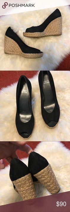 3269b8602f97 Stuart Weitzman Suede Crochet Wedge Crochet wedge and black suede leather  upper. In great condition Stuart Weitzman Shoes Wedges