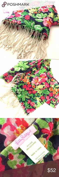 "Lilly Pulitzer ""Gataway Garden"" Murfee Scarf Hard to find print in a scarf! This beautifully bright Lilly Pulitzer Murfee scarf is called ""Getaway Garden"" and it is in ✨great condition!✨ perfect ensemble to your already fantastic looking spring or summer outfit. Murfee scarves are so versatile, every closet should have one! Printed Scarf (49% Cashmere, 51% Silk). Meausres 28"" x 82"". Dry Clean. Imported.   MAKE ME A GREAT OFFER!  Lilly Pulitzer Accessories Scarves & Wraps"