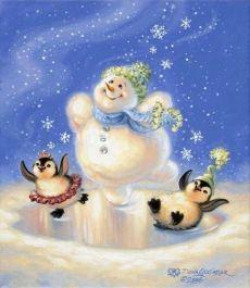 Новогодние иллюстрации. Забавные снеговички.   Художница Dona Gelsinge