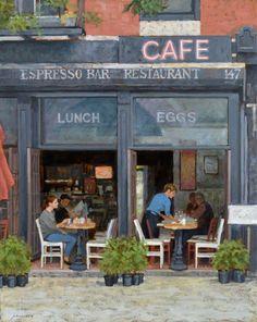 "Paul Schulenburg, Espresso Bar, oil on canvas, 34 x 30"""