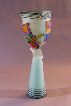 Triangular Shard Sculpture Robin's Egg Blue with Black Lip Wrap | James Wilbat Glass Studio