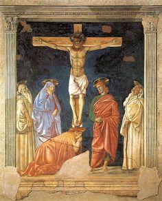 (Crucifixion and Saints)  ANDREA DEL CASTAGNO Andrea di Bartolo di Bargilla detto Andrea del Castagno (Castagno, 1421 circa – Firenze, 1457)   #TuscanyAgriturismoGiratola