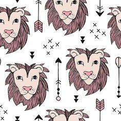 Cool scandinavian style lion tiger and a custom wallpaper by littlesmilemakers for sale on Spoonflower Surface Pattern, Surface Design, Indian Animals, Perfect Wallpaper, Safari Animals, Custom Wallpaper, Scandinavian Style, Textured Walls, Fabric Design