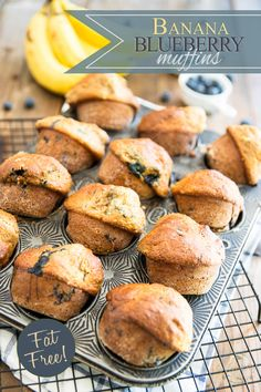 Virtually fat free and sweetened with nothing but a bit of honey and fresh fruits, these Banana Blueberry Muffins make for a delicious snack any time of day
