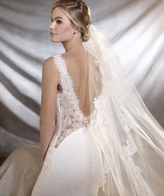 The back detailing on this dress is breathtaking! From Pronovias 2017 Bridal Collection.