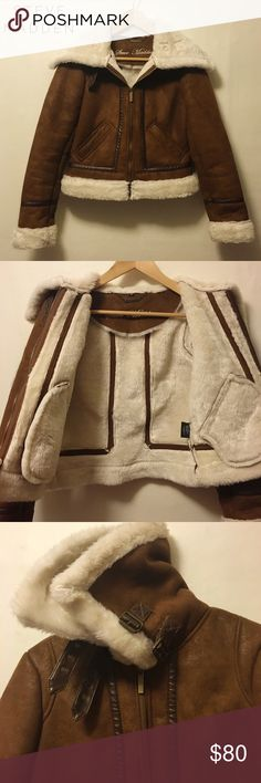 Faux shearling aviator jacket In excellent condition!!! Super soft and cozy faux shearling, which is lined through the sleeves as well. No signs of wear! Measures roughly 19 inches long. Still available at nordstroms for $180. Please message me if you have any questions! Steve Madden Jackets & Coats