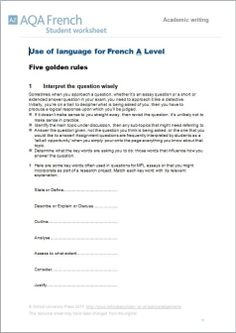 french a level essay tips Contents - a-level  six translations into french with stimulus texts essay writing guide (aqa) essay writing guide (pearson edexcel) essay language.