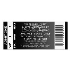 The VIP Ticket Birthday Invitation (Black)