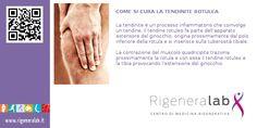 La tendinite è un processo infiammatorio che coinvolge un tendine. Il tendine rotuleo fa parte dell'apparato estensore del ginocchio, origina prossimamente dal polo inferiore della rotula e si inserisce sulla tuberosità tibiale. La contrazione del muscolo quadricipite traziona prossimamente la rotula e con essa il tendine rotuleo e la tibia provocando l'estensione del ginocchio.  Per maggiori informazioni: http://www.rigeneralab.it/news.php#new8