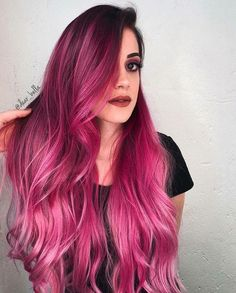 33 trendy ombre hair color ideas of 2019 - Hairstyles Trends Pink Ombre Hair, Hair Color Pink, Hair Dye Colors, Long Pink Hair, Dark Pink Hair, Bright Pink Hair, Colorful Hair, Pretty Hair Color, Amazing Hair Color