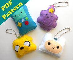 PDF PATTERN Adventure Time Keychain Set by tinybunnybones