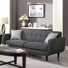 Wildon Home Stansall Sofa Upholstery: Charcoal Living Room Grey, Living Room Sets, Living Room Designs, Living Room Decor, Sofa And Loveseat Set, Mid Century Modern Design, Interiores Design, Decoration, Home Furniture