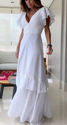 White Maxi Dresses, Day Dresses, Cute Dresses, Casual Dresses, Fashion Dresses, Simple Outfits, Pretty Outfits, Beautiful Outfits, Ibiza Dress
