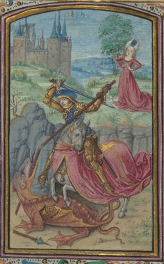 St. George and the Dragon. The Walters Art Museum, W.182, detail of f. 56v. Prayer book, Dutch; Flemish (1450 - 1475 CE, Utrecht).