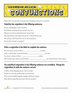 Worksheet 6th Grade Grammar Worksheets 1000 images about grammar on pinterest worksheets fifth grade review conjunctions