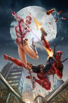 Deadpool VS Gwenpool - fan art print, by Nick Ong ...