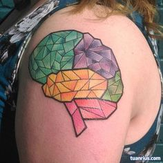 Geometric brain, divided by color/section. This was fun. Thanks Amy! #Asheville #ashevillenc #ashevilletattoo #avl #tattoo #brain - Bill Smiles's on Instagram