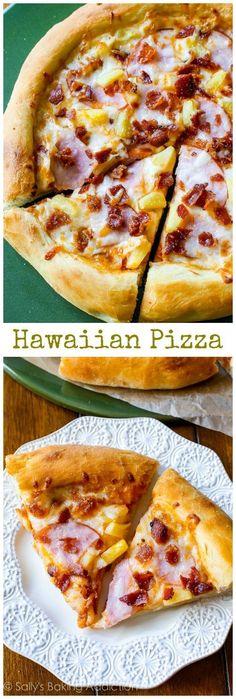 Hawaiian Pizza   Sally's Baking Addiction Pizza Hawaii, Good Food, Yummy Food, Tasty, Sallys Baking Addiction, Calzone, Stromboli, Hamburgers, Deep Dish