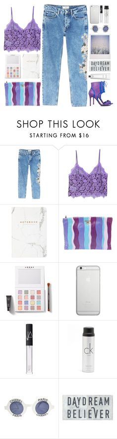 """Floral Lace Top"" by doga1 on Polyvore featuring MANGO, ShoeDazzle, Prada, LORAC, Native Union, NARS Cosmetics, Calvin Klein, Chanel, Polaroid and Rodin"