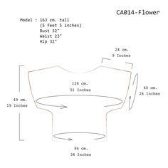 (CA014-Flower)Short Sleev Over Size Tops Lace Cotton Soi-Fah-Measurement Chart-www.tanbagshop.com