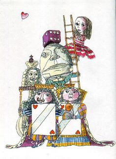 """""""Alice in Wonderland"""" , illustrated by Dmitry Trubina. Published by """"Bustard"""", 2002."""