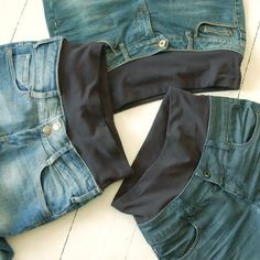 what a good idea for low-slung, skinny jeans. Sewing a strong, wide, lycra fabric band at the top to minimize tummy bulge.what a good idea for low-slung, skinny jeans. She sewed a band of ribbing (w/ elastic at the waist) to help keep 'em up. Sewing Pants, Sewing Clothes, Sewing Alterations, Clothing Alterations, Low Rise Skinny Jeans, Skinny Legs, Diy Vetement, Creation Couture, Clothing Hacks