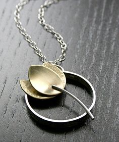 Tulip Flower Pendant Necklace in Silver and Brass - My Work - Jewelry Metal Clay Jewelry, Pendant Jewelry, Jewelry Art, Silver Jewelry, Jewelry Necklaces, Jewelry Design, Silver Ring, Silver Earrings, Gemstone Bracelets