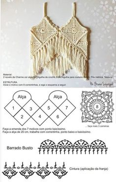 38 ideas for crochet dress diagram summer tops Crochet Bikini Pattern, Crochet Halter Tops, Crochet Diagram, Crochet Chart, Tops Tejidos A Crochet, Débardeurs Au Crochet, Crochet Woman, Crochet Designs, Crochet Patterns