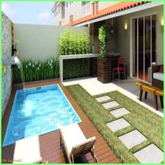 Like everything around us, the concept of the swimming pool design too is undergoing major changes. From being a rectangular pool of water it has evolved into a style statement. A swimming pool in the house is an extension of… Continue Reading → Small Swimming Pools, Small Backyard Pools, Backyard Patio Designs, Swimming Pools Backyard, Swimming Pool Designs, Small Patio, Backyard Landscaping, Kleiner Pool Design, Small Pool Design