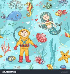 Mermaid and diver seamless pattern. Vector cartoon background.