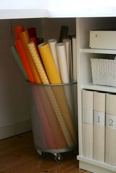 50 Genius Storage Ideas (all very cheap and easy!) Great for organizing and small houses. Craft Organization, Craft Storage, Organisation, Storage Ideas, Wrapping Paper Organization, Pool Toy Storage, Corner Storage, Corner Desk, Storage Boxes