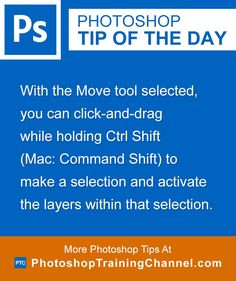 With the Move tool selected, you can click and drag while holding Ctrl Shift (Mac: Command Shift) to make a selection and activate the layers within that selection.