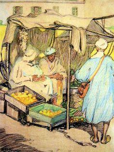 Emily Hilda Rix Nicholas (Australian, 1884-1961) - Moroccan Fruit Stall, c. 1911 - Crayon on paper
