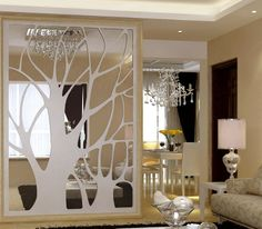 Home/Hotel decoration tree-simple, pierced engraved partition MDF entrance screen wall Living Room Partition Design, Room Partition Designs, Interior Design Living Room, Hotel Decor, Wood Doors, Plates On Wall, Innovative Ideas, Creative Ideas, Ceiling Panels