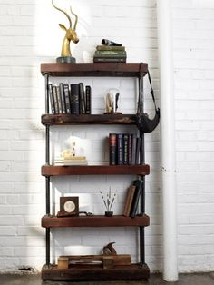 industrial rustic bookshelf (via hgtv)